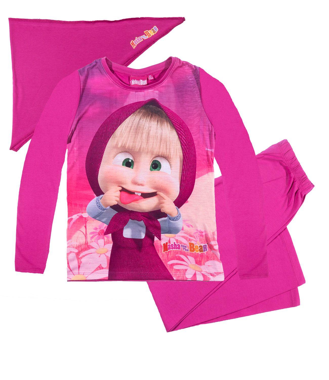 01b47784c Ružové pyžamo Máša a medveď so šatkou suprav, pyžamo,tričko, dlhý rukáv,  oblečenie, detske oblecenie