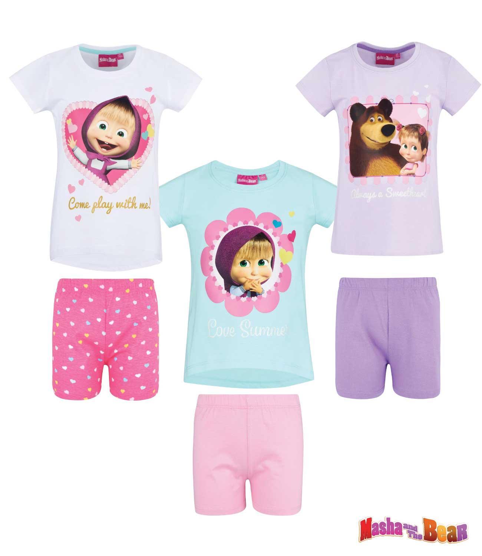 bc29818f5 Máša a medveď tričko a kraťasy trblietavým efektom vo foto kvalite súprava,  pyžamo, detské oblečenie, kraťasy, šortky